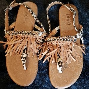 Reba Animal Print Fringe Sandals